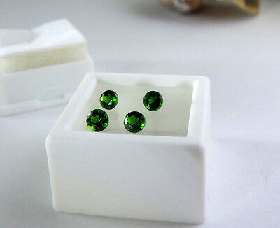 4 pc Round Diamond Cut Russian Chrome Diopside 1.05tcw faceted by me :)