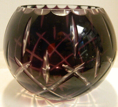 """Vintage Bohemian Amethyst Cut To Clear Round Bowl 5.5"""" x 6"""" Very Good Condition"""