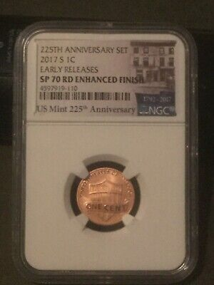 2017 S Lincoln Shield Cent SP70 Enhanced RD Finish Early RELEASE 225th Anniv Set