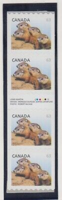 CANADA COILS #2692i x 4 GUTTER STRIP OF WOODCHUCKS, BABY WILDLIFE DEFINITIVES