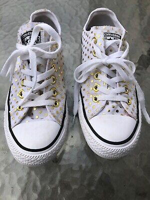 6709fbef9e69a2 Converse OX White   Gold Polka Dot Canvas Sneakers Tennis Shoes Women s  Size 7