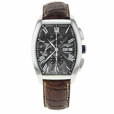 Longines Evidenza Tonneau Black Dial Day Date Steel Mens Watch L2.701.4.58.9