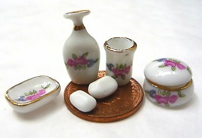 1:12 Scale 6 Piece Ceramic Ladies Vanity Set Tumdee Dolls House Bathroom P47