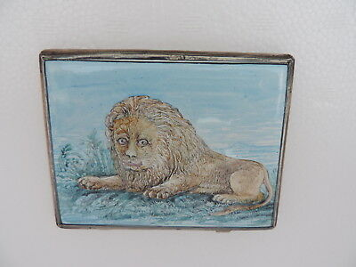 Stunning  Antique Persian Islamic Silver  H-Painted Enamel Cigarette Card Case
