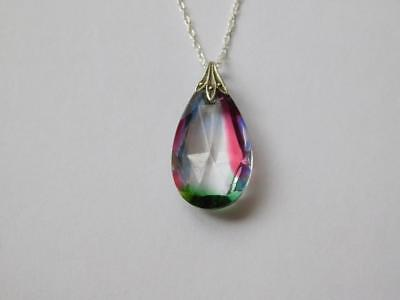 925 Sterling Silver Rainbow Glass Pendant with a Silver Rope Chain