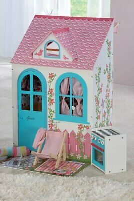 Personalised Kids Wooden Dolls House - Cottage with Accessories Vehicles age 3+