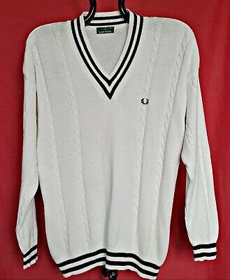 Vintage Authentic Fred Perry White Knitted Cotton Men's Sweater-Size:m