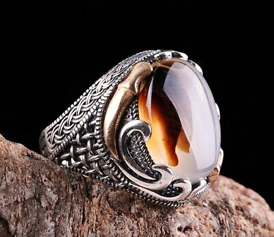 Original Yemeni Agate Aqeeq Stone Turkish Jewelry 925 Sterling Silver Men Ring 8