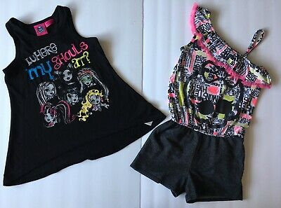 Monster High Youth Girl Romper & Top SZ Small 6/6X Lot Of Two Black Multi Color