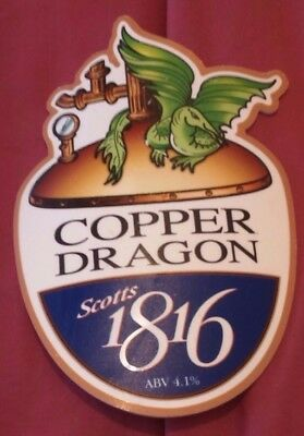 COPPER DRAGON brewery SCOTTS 1816 cask ale beer pump clip badge front Yorkshire