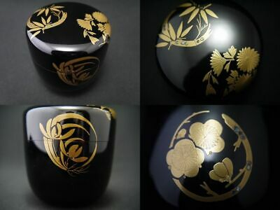 Japanese Lacquer Wooden Tea caddy Flower Circle images makie Chu-Natsume (0130)