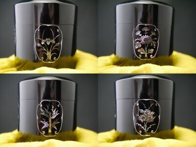 Japan Lacquer Wooden Tea caddy SHIKUNSHI design in Mother-of-pearl Fubuki(0128)