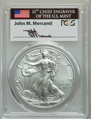 2017-W $1 Silver Eagle, Burnished, First Day of Issue, 1 of 1,000, PCGS SP 70