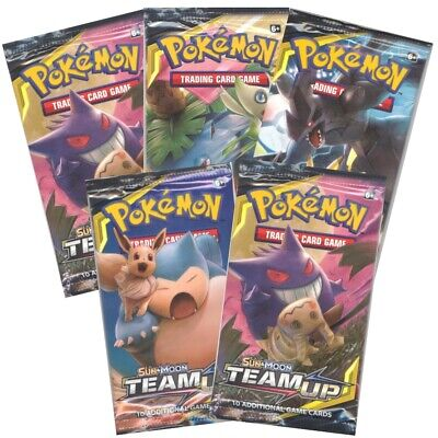 Pokemon Cards - Sun & Moon Team Up - Booster Packs (5 pack lot) - New Sealed