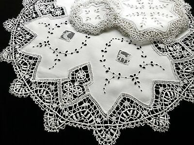 Antique Lace & Embroidered Linen Wedding Placemat Set - Setting for 12