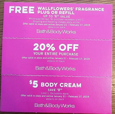 3 Bath & Body Works Coupons expires Feb 17