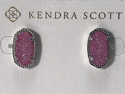 c15101f27 NWT Kendra Scott Ellie Oval Stud Earrings in Violet Drusy and Rhodium  Beautiful