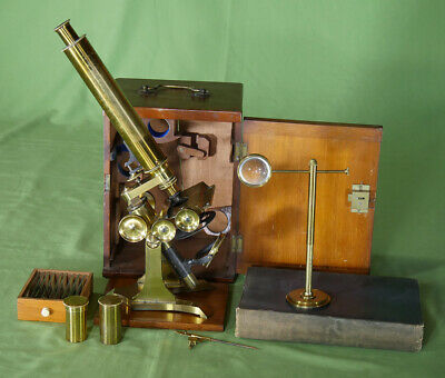 Extremely Rare Stanley Microscope Monocular Cased Brass Mahogany c. 1870