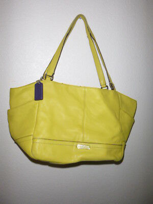 Authentic Coach Park Leather Carrie Tote handbag Shoulder bag F23284 Yellow 6fd970947acd6