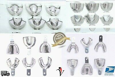 4 Sets DENTAL IMPRESSION TRAYS Solid/Perforated 6PCS Set STAINLESS STEEL S/M/L