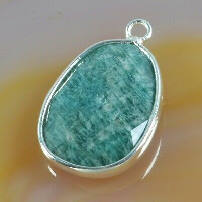 Natural Amazonite Faceted Bezel Charm One Bail Silver Plated T075064