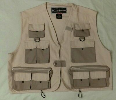 Field & Stream beige fly fishing vest excel cond multi-pocketed size L