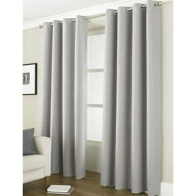 "Luxury Linea Grey Blackout Curtains Energy Saving Eyelet Curtain Pair 66"" x 90"""