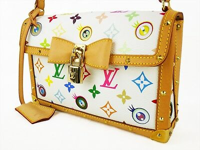 9781cc29d14d Auth LOUIS VUITTON EYE MISS YOU White Pouchette Bag Multicolor MURAKAMI  Monogram
