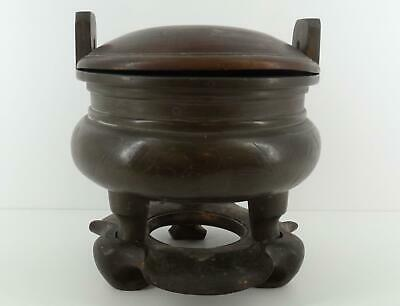 Chinese Silver Wire Inlaid Bronze Censer~18th~Shisou Mark~Provenance~Ding~Qing