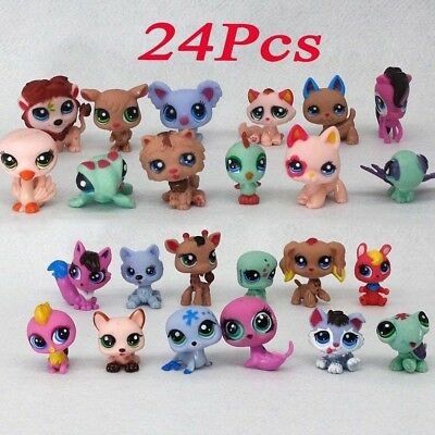 24pcs/Set Hasbro Littlest Pet Shop LPS Dog Animal Figure Baby Kid Toy Gift XMAS