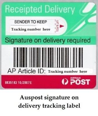 Australia POST Receipted Signature on Delivery Tracking Label 500 labels