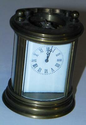 BRASS UNBRANDED WORKING CYLINDRICAL CARRIAGE CLOCK w/o KEY VINTAGE REPRODUCTION?