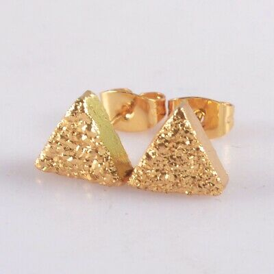 8mm Triangle Natural Agate Titanium Druzy Stud Earrings Full Gold Plated T075100