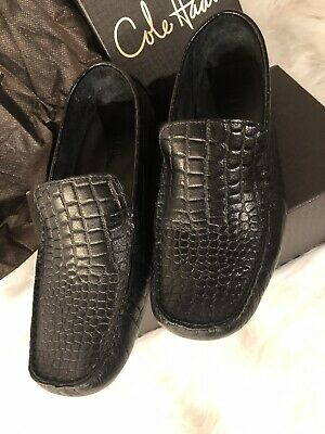 7536d7d8ee0 Cole Haan Shelby II Black Croc Print Leather Loafers Shoes Women s Size 8