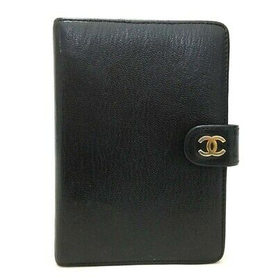 Authentic CHANEL CC Logo Black Leather Agenda Notebook Cover /p68