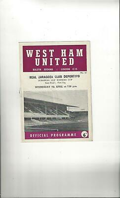 West Ham United v Real Zaragoza Cup Winners Cup Semi Final Programme 1964