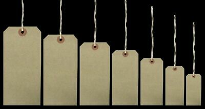 Luggage Tags Hardware Labels Manila Brown Buff Large Strung Tags - various sizes
