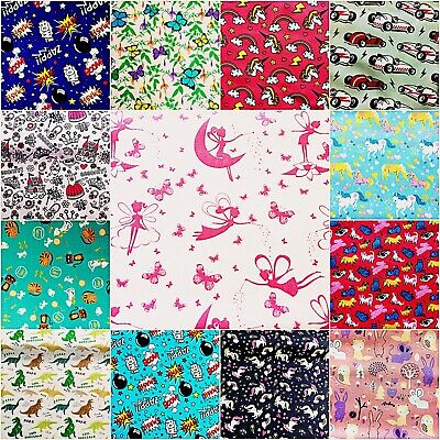 Childrens Fabric HALF METRE Kids POLYCOTTON Material  BUY 1, GET 1 AT 50% OFF