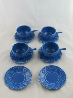 Vintage Tams Ware -  4 x Soup Bowls and Saucers, Blue