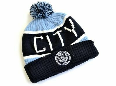 Official Manchester City Football Club Blue Bobble Beanie Winter Hat Club Crest