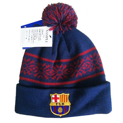 Official Barcelona Text Football Club Bobble Beanie Winter Hat Club Crest