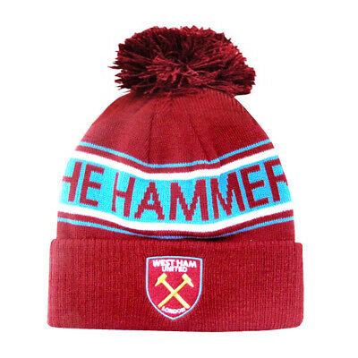Official West Ham United Football Club TEXT Bobble Beanie Winter Hat Club Crest