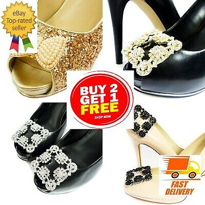 New Decorative Bow Shoe Clip Ons Silver Gold Pearl Diamante Buckles Wedding Gift