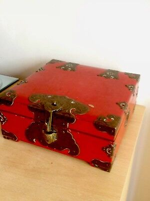 Vintage Old Japanese Wood Red Lacquer Box with Brass Furniture Turtle Latch Rare