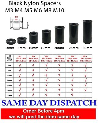 Black Nylon SPACERS Plastic Standoff Washers M3 M4 M5 M6 M8 M10