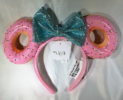Disney Parks Foodie Minnie Mouse Glitter Bow Sprinkle Donut Ears Headband CUTE!