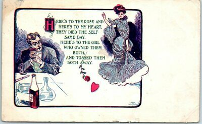 """1908 Romance Postcard Artist-Signed """"Here's to the Rose & Here' to My Heart..."""""""