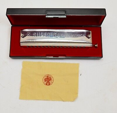 VINTAGE HOHNER No.7582 SUPER 64 HARMONICA CHROMONICA WITH CASE Made in Germany