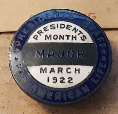 Vintage Pan-American Life Metal Arts Co Sterling Pin Presidents Staff March 1922