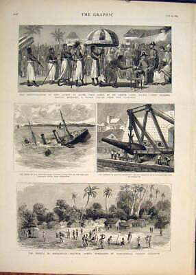 Original Old Antique Print Accra GCoast Africa Rowe Madagascar Gun Ship Lively